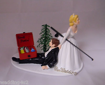 Wedding Reception Party Fishing Fisherman Sign Cake Topper Tackle Box & Pole (Fishing Cake Toppers)