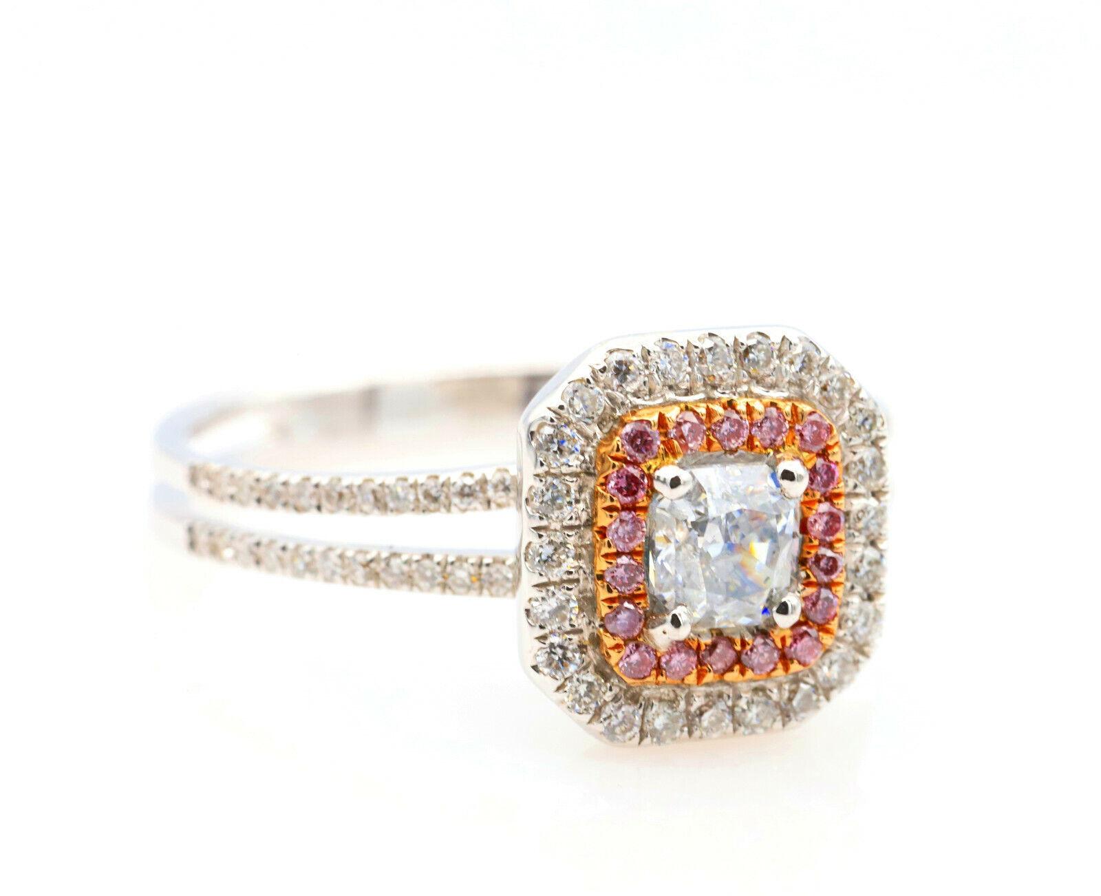 0.65ct Light Blue & Argyle 6PP Intense Pink Diamond Engagement Ring GIA 18K SI2 4