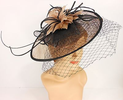 New Church Derby Cocktail Sinamay Fascinator Hat w veil headband 3624 Taupe