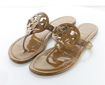 63-40 $198 Women's Sz 8.5 M Tory Burch Miller Patent Leather Flip Flop Sandals