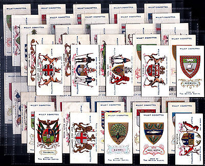 Full Set Wills ARMS OF THE BRITISH EMPIRE 1910 Cigarette Cards In Sleeves