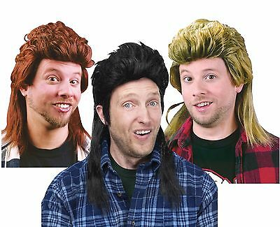 Mens Mullet Wigs Black Blonde Brown Hair Wig White Trash Costume Adult Halloween (Brown Wig Halloween)