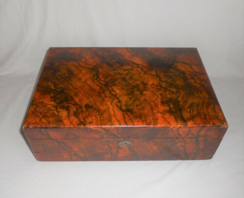 Antique Rosewood Traveling Writing Box Lap Desk