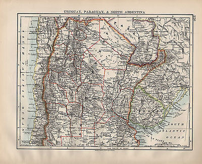 1900 VICTORIAN MAP ~ URUGUAY PARAGUAY & NORTH ARGENTINA