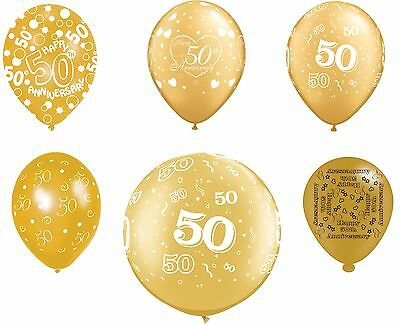 50th Wedding Anniversary Balloons Decorations (50th Fifty Golden Wedding Anniversary Party Decoration - Assorted Latex)
