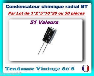 LOT-AU-CHOIX-DE-1-2-5-10-20-OU-30-CONDENSATEURS-CHIMIQUES-RADIAL-BT