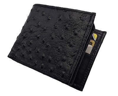 Mens Leather Cowboy Bifold Ostrich Skin Imprint Credit Card