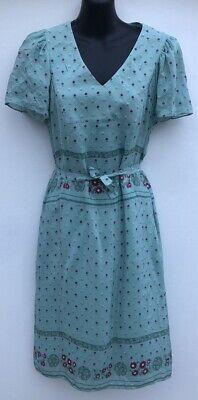 LADIES INTROPIA MINT GREEN/MAGENTA FLORAL PATTERNED BELTED DRESS. UK 8 (EUR 36).