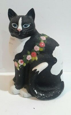 Vintage Cat Figurine HAND PAINTED FLOWERS Bisque Porcelain 8""