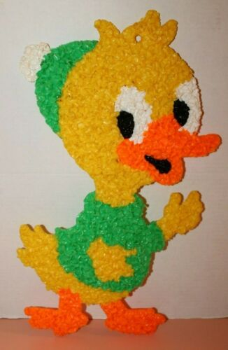 Vintage Melted Plastic Popcorn Easter Donald Ducks Nephew Wall Decor