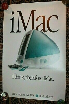 VINTAGE APPLE POSTER MACWORLD NEW YORK 1998 I THINK THEREFORE IMAC