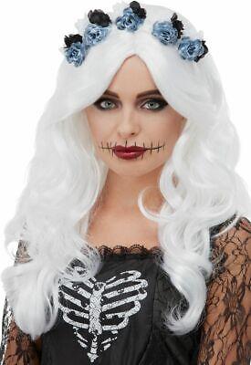 Tag der Toten Perücke Weiß mit Blumen Halloween Kostüm Zubehör Neu ()