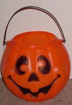 Vintage Grand Venture Halloween Trick or Treat Candy Pail Orange Made USA