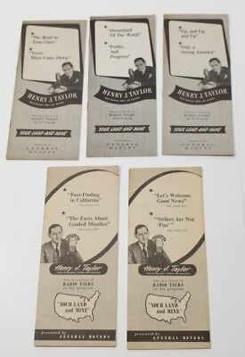 Lot of 5 Henry J. Taylor Your Land and Mine Radio Talks Brochures GM 1946 1948