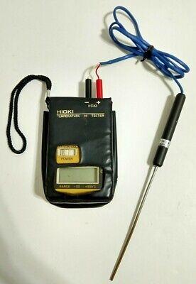 Hioki 3412 Temperature Hitester Thermometer Celsius W Probe Soft Case Tested