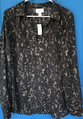 NWT Ann Taylor Loft Cheetah Animal Print Button Up Shirt Sheer XL XLarge NEW