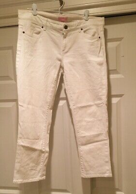 Lilly Pulitzer Womens White Cropped Denim Jeans sz 12