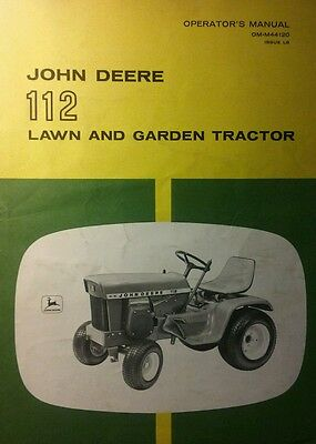 John Deere 112 Lawn Garden Tractor Owner Snowblower Owner Parts 3 Manual S