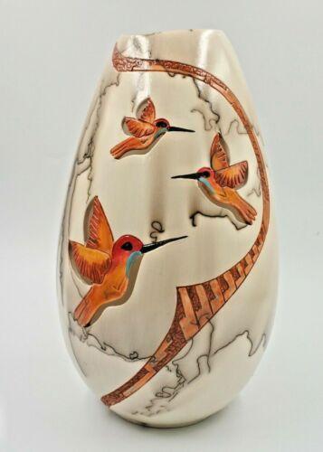 "Horse Hair  Vase Pottery Hummingbird Handmade Ceramic By Gina Arrighetti 10"" T"