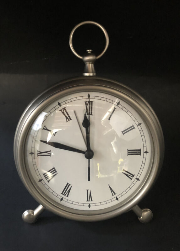 Pottery Barn  Clock Alarm Desk/Shelf Clock Nickel Finish