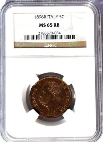 1896 R Italy 5 Centesimi, NGC MS 65 RB, KM-31, Superb Example