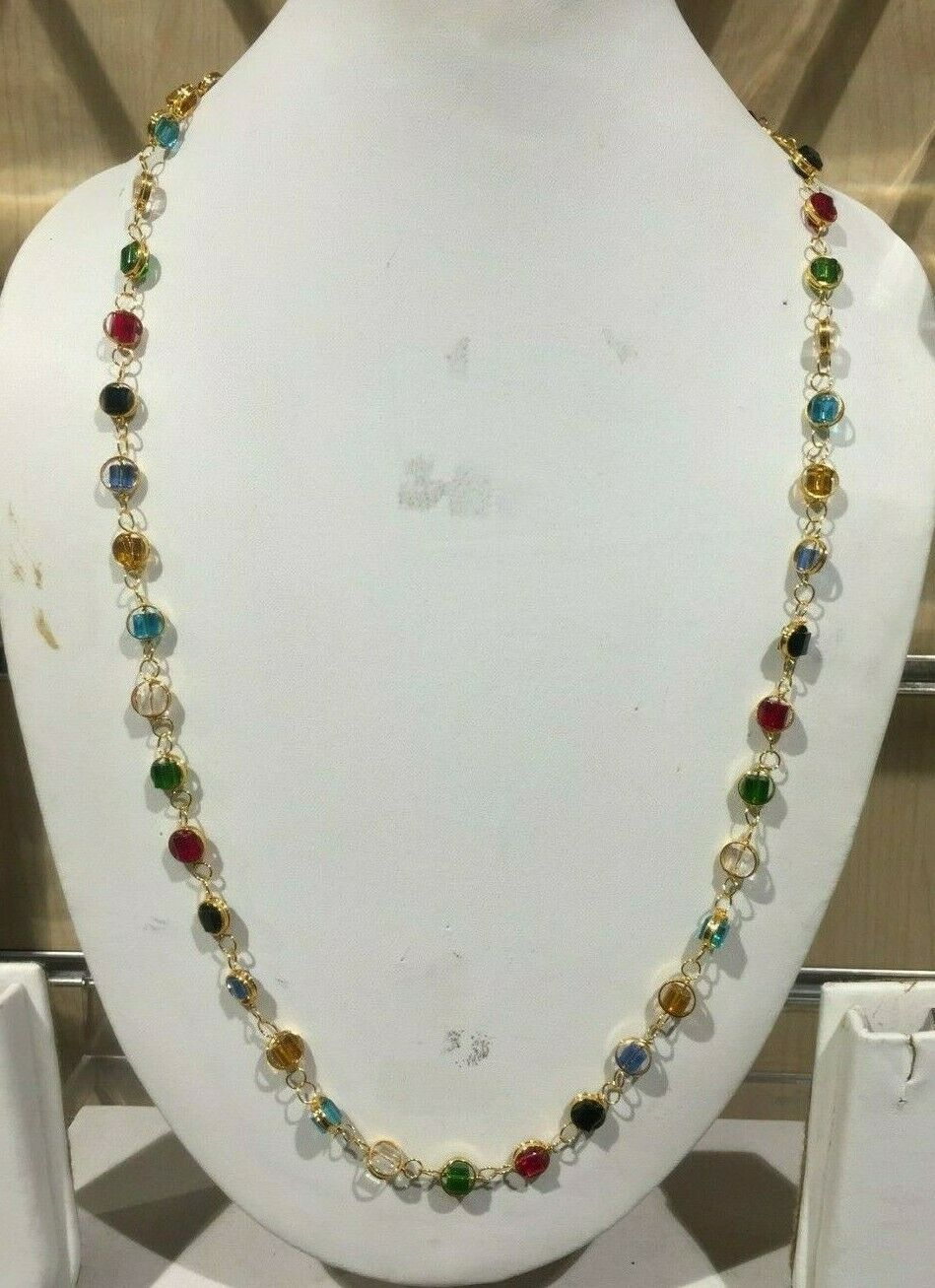 Jewellery - New Golden With Multi Colored Beaded Chain Indian African Jewellery Necklace