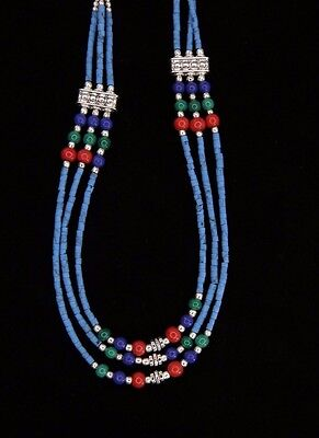 """HANDCRAFTED FASHION TIBETAN SILVER FAUX LAPIS, CORAL & JADE NECKLACE  NEPAL 9"""""""