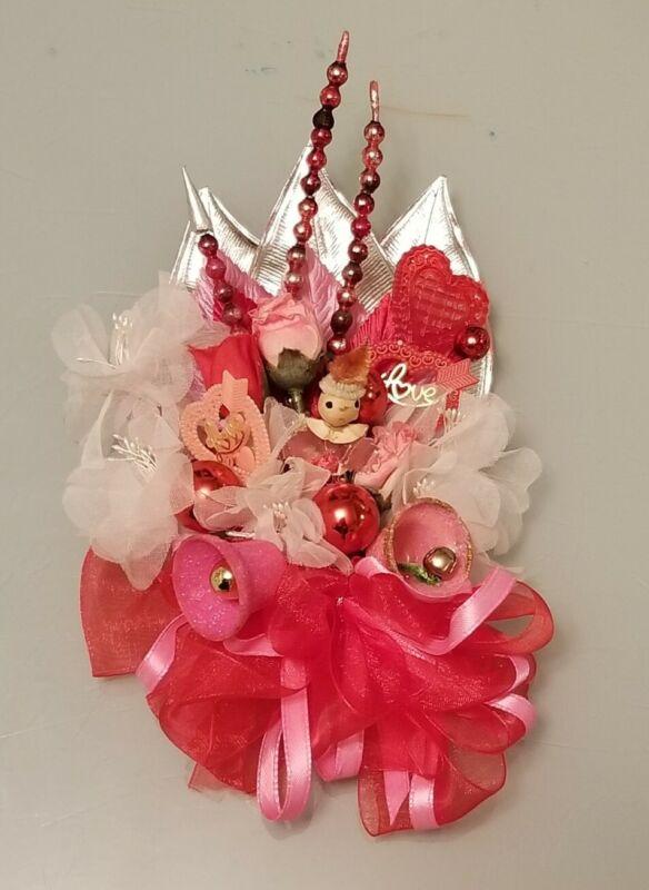 Vintage HANDMADE Valentine Corsage Decoration Composition Hearts Rose