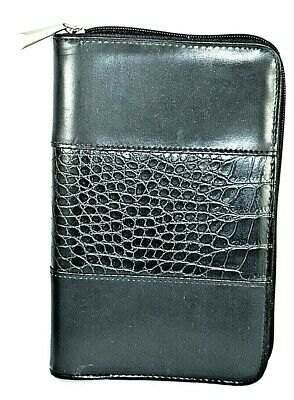 Day Runner Planner Organizer 6-ring Binder Black Leather Lizard Pattern Small