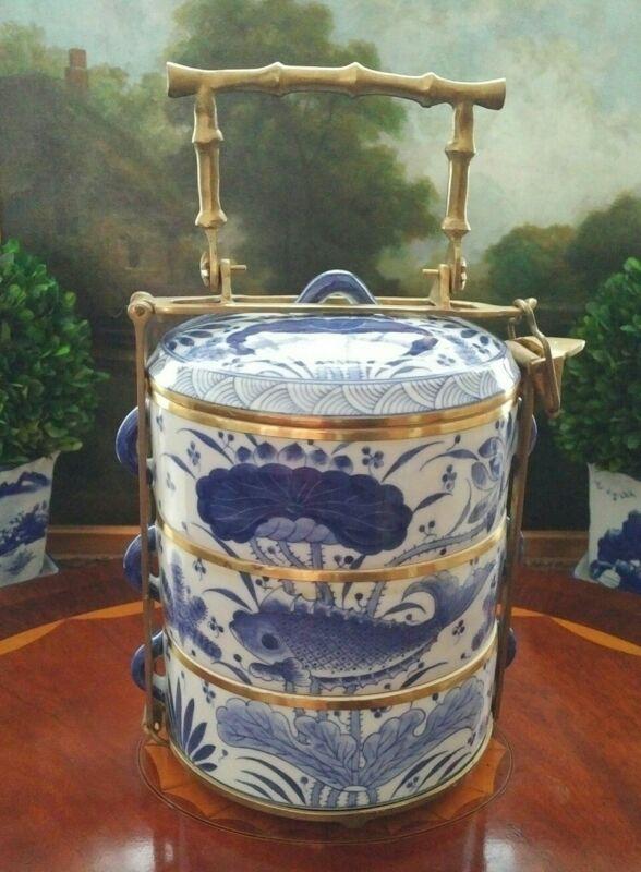 Stunning Large Three Tier Blue White Chinoiserie Lunch Wedding Box Brass Handle