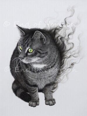 Poster Katze, getigert, grüne Augen, schwarz, Rauch, Kohle, Kunstdruck, A3