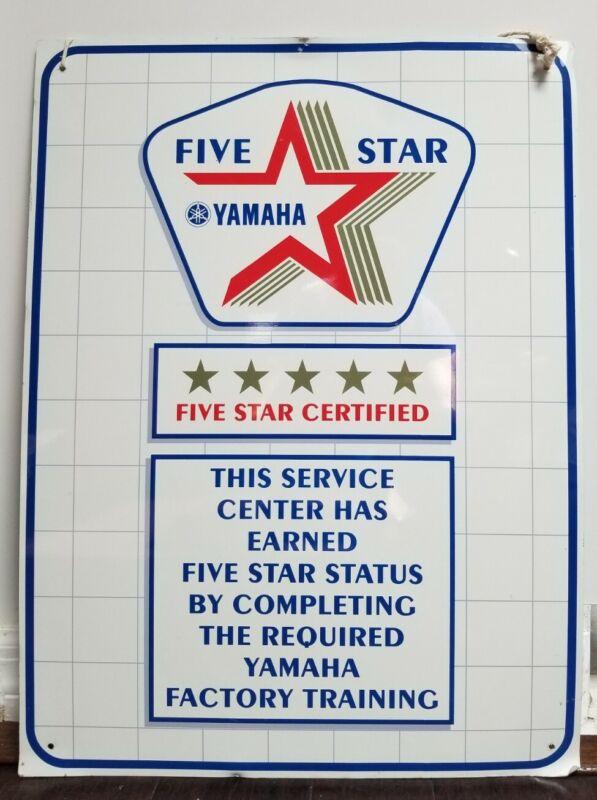 "Vintage YAMAHA FIVE STAR CERTIFIED Metal Store Dealer Sign Advertising 24""x18"""