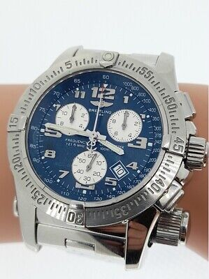 Breitling Emergency Mission 45mm Chronograph Stainless Steel Blue Dial -FULL SET