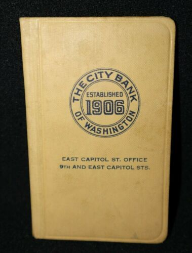 The City Bank of Washington DC, 1948 Bank Deposit Book~East.Capitol St. Office