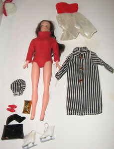 1960s Barbie clone, clothes and accessories