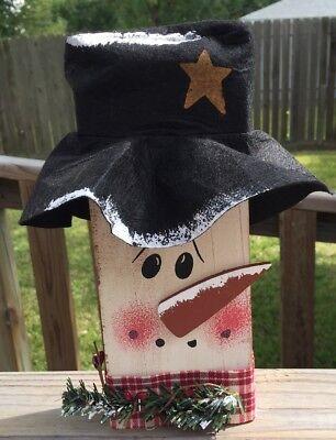 Christmas Decor 74082NB Wood Snowman Block  Felt Top Hat