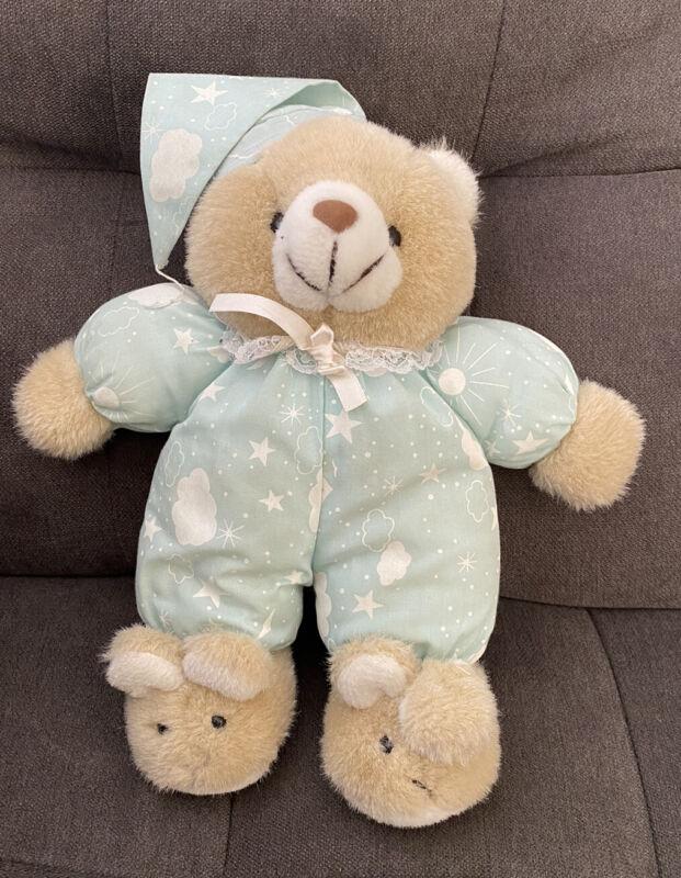 House of Lloyd Snuggles Glow Teddy Bear Plush Blue Clouds Stars Bunny Slippers
