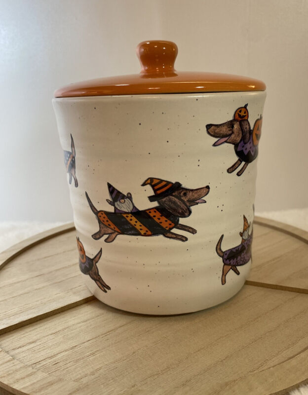 Halloween Gnomes & Dachshund Dogs Stoneware Canister Pumpkins Witches-Orange Lid