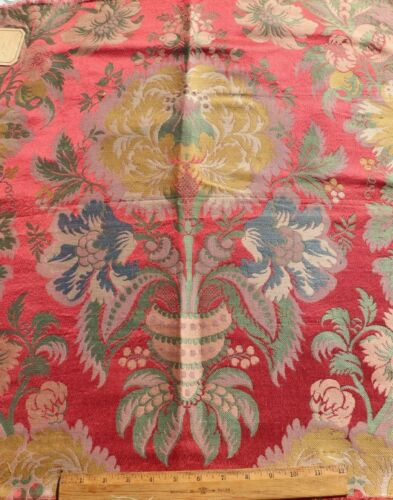 "Antique 19thC French ""Hamot Bros"" Silk Brocatelle Sample Fabric~L-27"" X W-25"""
