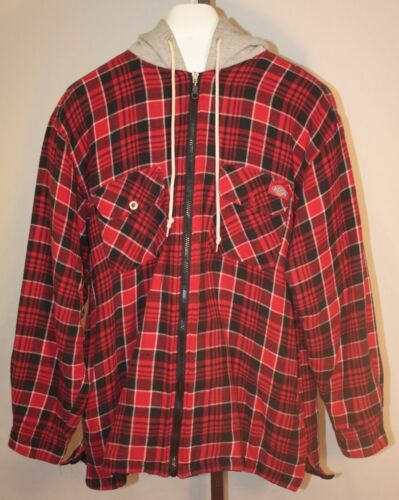 Dickies Men's Red Plaid Hooded Zip Front Jacket Size Large