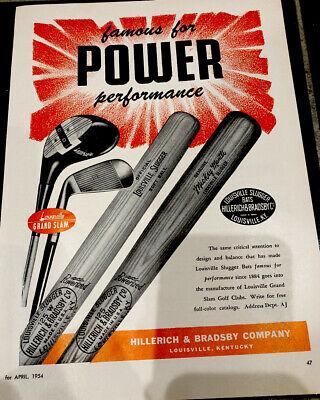 Vintage 1954 Louisville Slugger Advertisement Baseball Bats And Golf Clubs