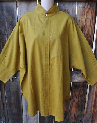 Dilemma Art To Wear Hand Woven 100  Cotton Big Shirt In Solid Mustard Gold  Os