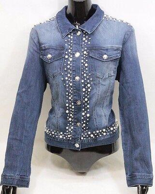 BEBE Women's Blue Jean Beaded Jacket Barcelona - Size Large - New w/ -