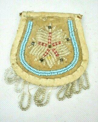 Antique Victorian Iroquois Native American Beadwork Velvet Coin Purse Folk Art