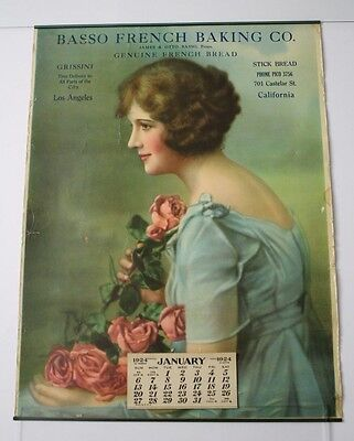 Original 1924 Pinup Advertising Calendar - Los Angeles, California Bread Baker