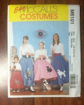 Easy McCalls Costumes M6101 Girls Poodle Skirt 50s Diner Petticoat Sew Pattern - Easy Costumes Girls