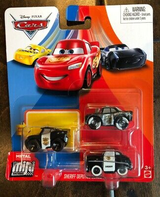 DISNEY PIXAR CARS MINI RACERS OFFICER LIGHTNING MCQUEEN SHERIFF 3 PACK SHIP $15+