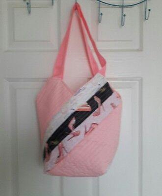 Handmade Patchwork Quilted Tote Bag, Book Bag, Purse, Bridesmaid Bag, --Pink