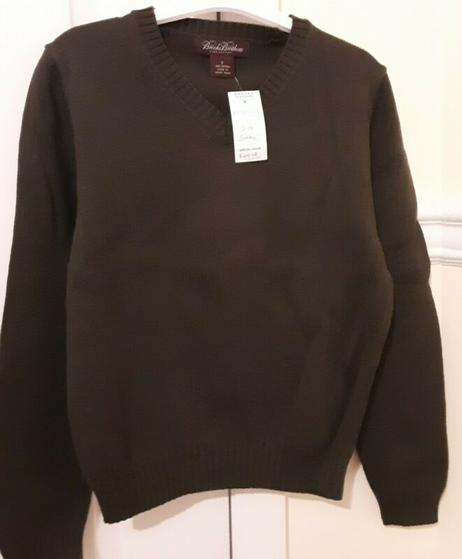 NWT BROOKS BROTHERS Boys  V Neck Sweater Khaki Green Small S 4 6