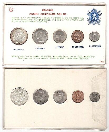 2 BELGIUM Sets of 5 Coins BU 1953-68 Hole Mounted Card; 20Fr 1953Fl SILVER PpdUS